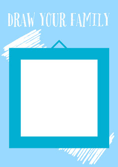 Blue & White Draw Your Family Square A4 Print Poster Family