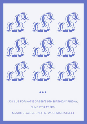 JOIN US FOR KATIE GREEN'S 9TH BIRTHDAY FRIDAY, JUNE 15TH AT 5PM <BR>MYSTIC PLAYGROUND | 66 WEST MAIN STREET  Geburtstagskarte mit Einhörnern