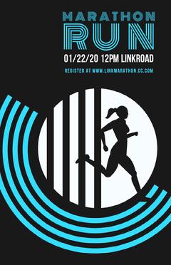 Black and Blue Marathon Run Retro Poster Fundraiser