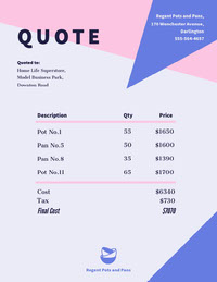 Pink and Blue Geometric Business Invoice Quotations