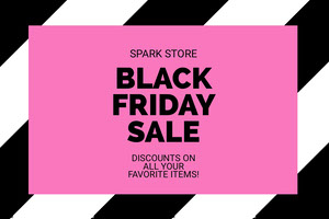 Pink, Black and White Black Friday Sale Ad Facebook Banner Black Friday