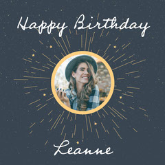 Black and Yellow Happy Birthday Leanne Instagram Square instagram posts