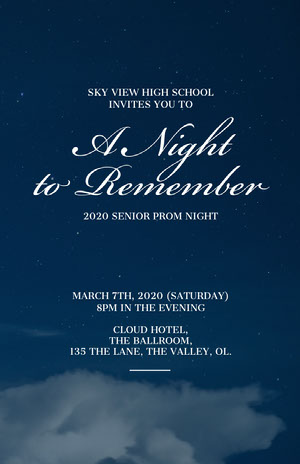 Blue and White Prom Party Poster Prom Posters