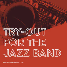 Red High School Jazz Band Tryouts Instagram Square with Saxophone 101 Templates - Aspiring Communicator