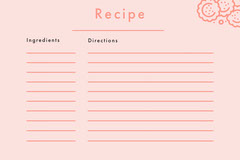 Pink Blank Recipe Card Cooking