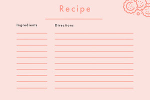 Pink Blank Recipe Card レシピカード