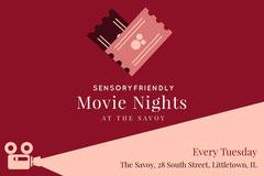 Claret and Pink Sensory Friendly Autism Movie Night Postcard Movie Night Flyer