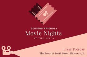 sensory friendly autism movie night postcard Folleto de invitación a evento