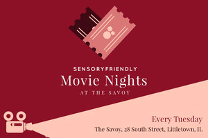 Claret and Pink Sensory Friendly Autism Movie Night Postcard Pink Flyers