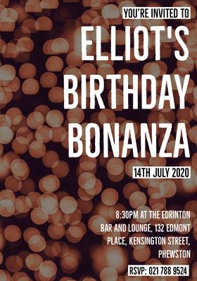 Beige Bokeh Birthday Party Invitation Card Invitación de cumpleaños