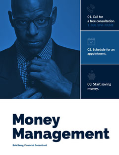 Blue and White Money Management Ad Instagram Portrait Portrait
