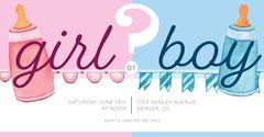 Pink and Blue Baby Bottle Illustration Gender Reveal Facebook Post Gender Reveal Flyer