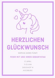 Purple Hearts unicorn birthday cards Geburtstagskarte