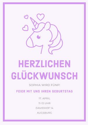 Purple Hearts unicorn birthday cards Geburtstagskarte mit Einhörnern