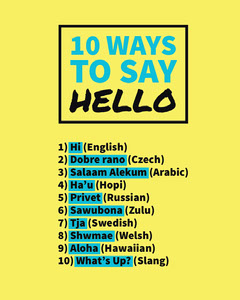 Yellow and Blue Ways to Say Hello Instagram Portrait Social Post Graphic Hello