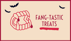 Beige and Red Vampire Fangs and Bats Halloween Party Gift Tag Halloween Gift Tag