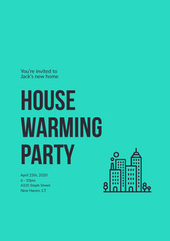 Green and Black House Warming Party Invitation Friends