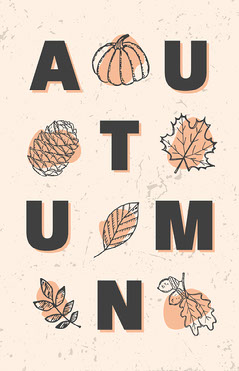 Beige Autumn Leaves Typographic Flyer Typography