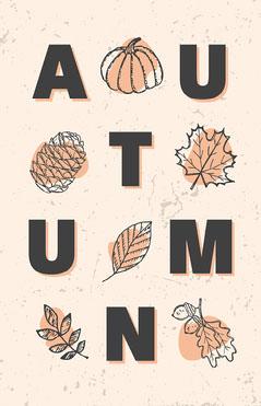Beige Autumn Leaves Typographic Flyer Autumn