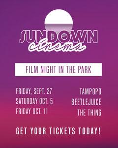 Purple, White and Pink Sundown Cinema Ad Instagram Portrait Movie Night Flyer