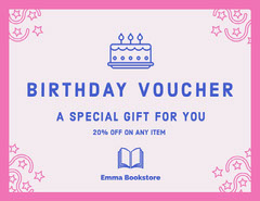 Pink and Blue Illustrated Bookstore Birthday Voucher Coupon Cakes