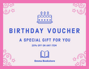 Pink and Blue Illustrated Bookstore Birthday Voucher Coupon Bon