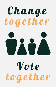 Orange and Black Stick Figure Election Campaign Flyer Election