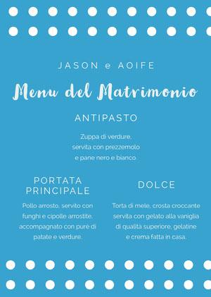 polka dot wedding menu  Menu
