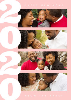 Pink and White, Light Toned, Happy New Year Family Card Family