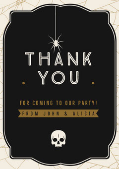 Halloween Spider Skull Party Thank You Card Halloween Party Thank you Card