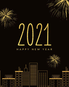 black and gold happy new year 2021 instagram portrait  Fireworks