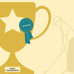 Orange Golf Champions Illustrated Instagram Square Graphic with Trophy Contest