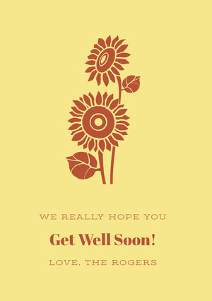 Yellow and Red Floral Get Well Soon Card with Sunflowers God bedring-kort