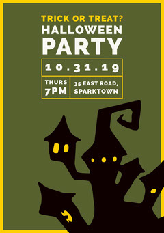 Green Haunted House Halloween Party Invitation Halloween Party Invitation