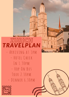Yellow Zurich Switzerland Landmark Cathedral Travel Plan Flyer  Travel