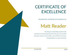 Gold and Blue Geometric Student Excellence Certificate Certificato di diploma