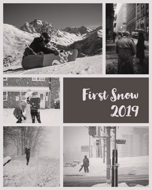 Gray First Snow Collage Instagram Portrait Crea il tuo album di fotografie