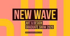 Coral & Yellow Wave Icon Facebook Event Cover Art Show