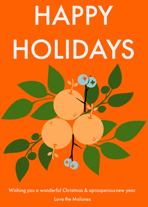 Orange Fruit Happy Holidays Card Christmas Card