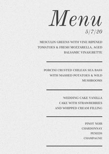 Black and White Elegant Wedding Menu 웨딩 메뉴판