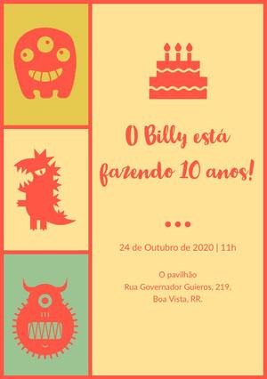 O Billy está fazendo 10 anos! Convite para festa