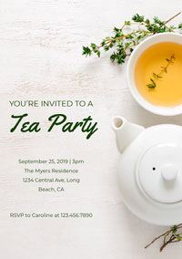 Green and White Tea Party Invitation Invitación de fiesta