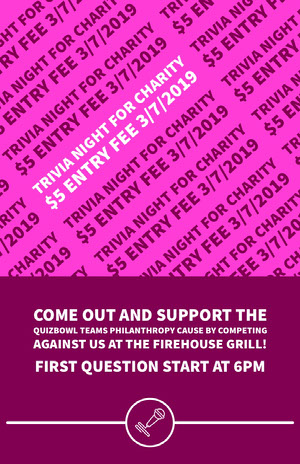 TRIVIA NIGHT FOR CHARITY<BR>$5 ENTRY FEE 3/7/2019 Pink Flyers