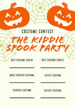Halloween Kid Spooky Party Costume Card  Halloween Costume Contest