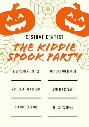 Orange and White Halloween Kid Spooky Party Costume Card  Halloween Party