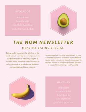Pink and White Healthy Eating Newsletter  Newsletter