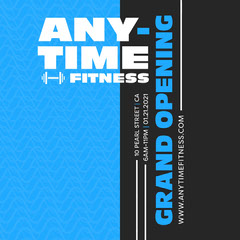 Black and Blue Typography Anytime Fitness Instagram Square Gym