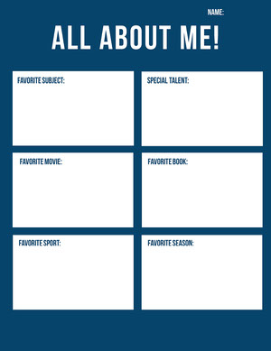 Simple All About Me Worksheet Tarjetas de Datos Personales