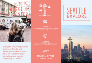 Red Seattle Washingon Travel Brochure with Space Needle Brochure