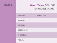 Violet and Black Empty Schedule College Schedule